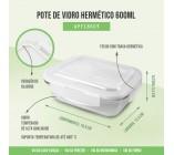 Pote de Vidro Hermético (M) 600ml  - Fitness